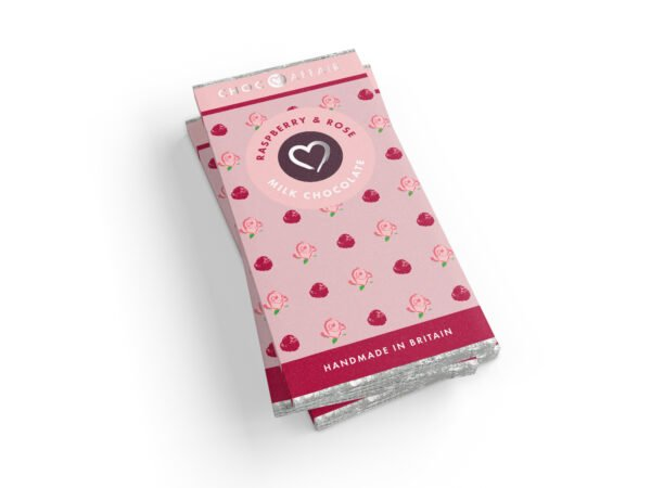 A stake of flavour infused Raspberry & Rose milk chocolate bars