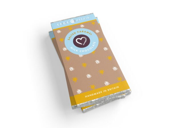 A stack of Salted caramel milk chocolate bars on a white background