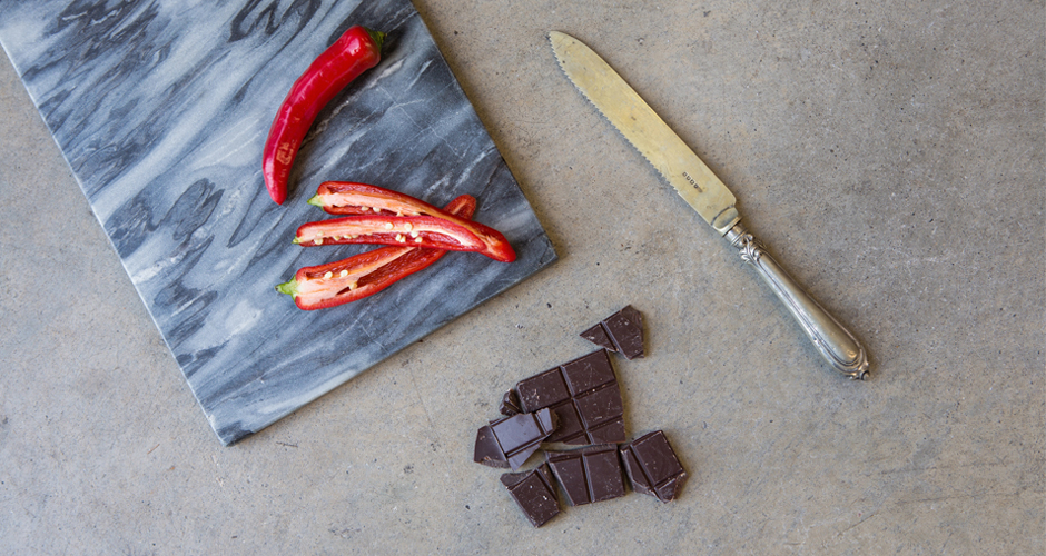 Chilli and chocolate ingredients