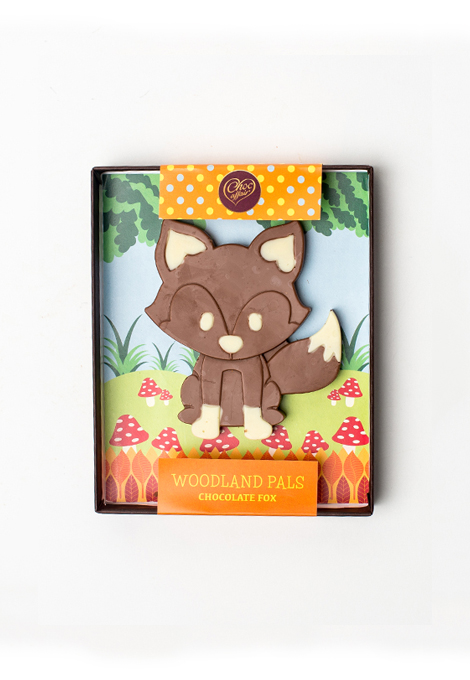 A milk chocolate fox handmade in the UK.