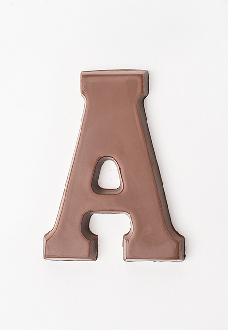 Milk chocolate letter A