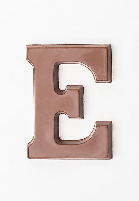 Milk chocolate letter E