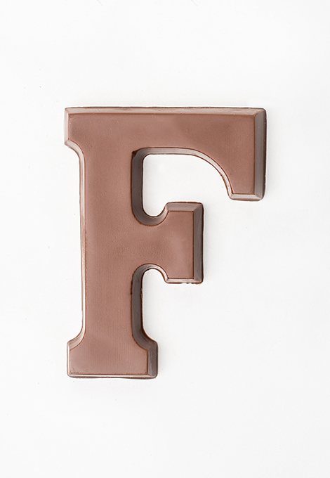 Milk chocolate letter F