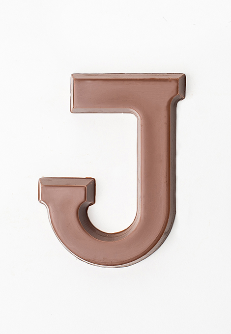 milk chocolate letter J