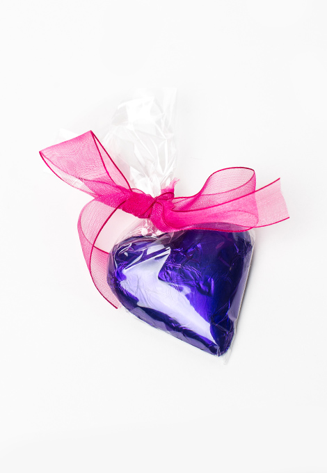 Foiled Milk Chocolate Heart in Clear Bag