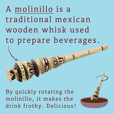 Choc affair chocolate. Aztec Mayan History. Molinillo