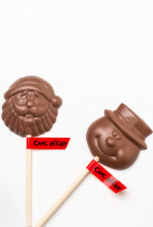 Santa and snowmen chocolate lollies