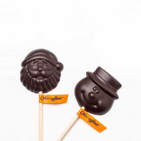 Dark Chocolate Santa & Snowman Lolly