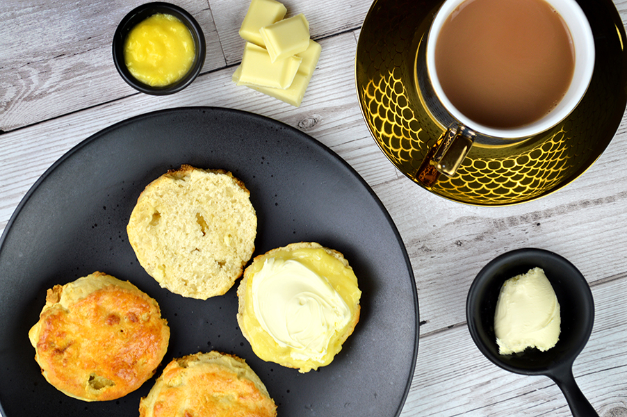 Lemon, Mango & White Chocolate Scones