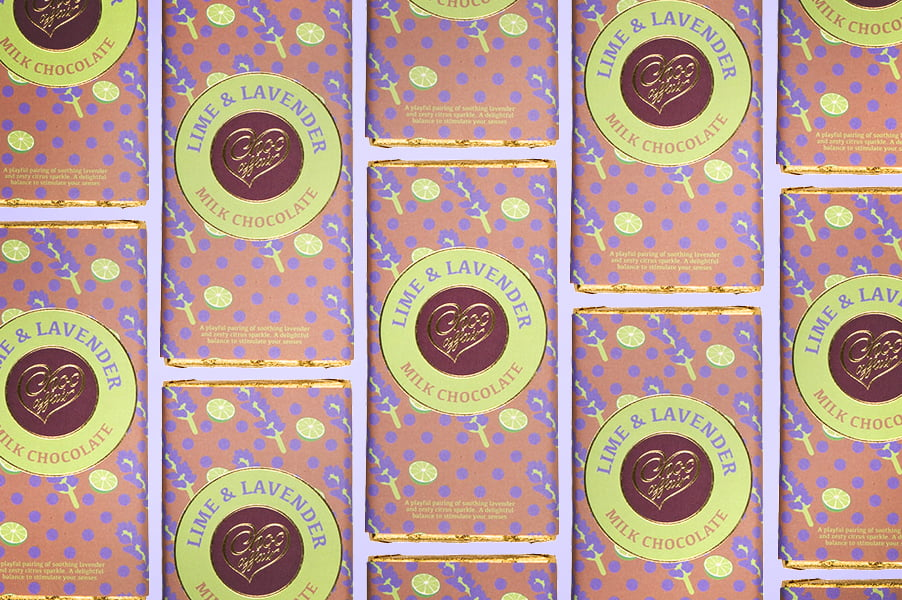 Lime and Lavender Chocolate Bars