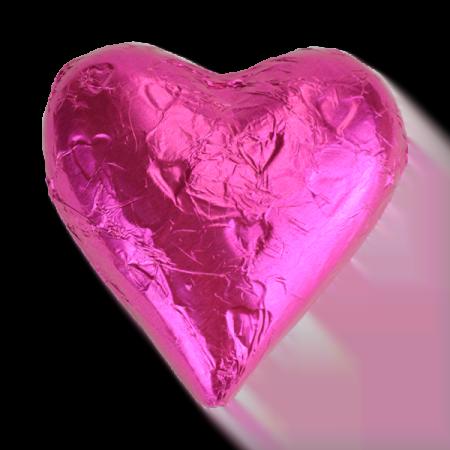 Dark Pink Milk Chocolate Heart Wedding Favour