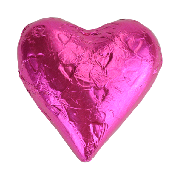 Dark Pink Milk Chocolate Heart Wedding Favour