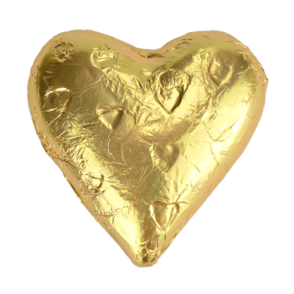 Milk Chocolate Heart Wedding Favour with Gold Foil