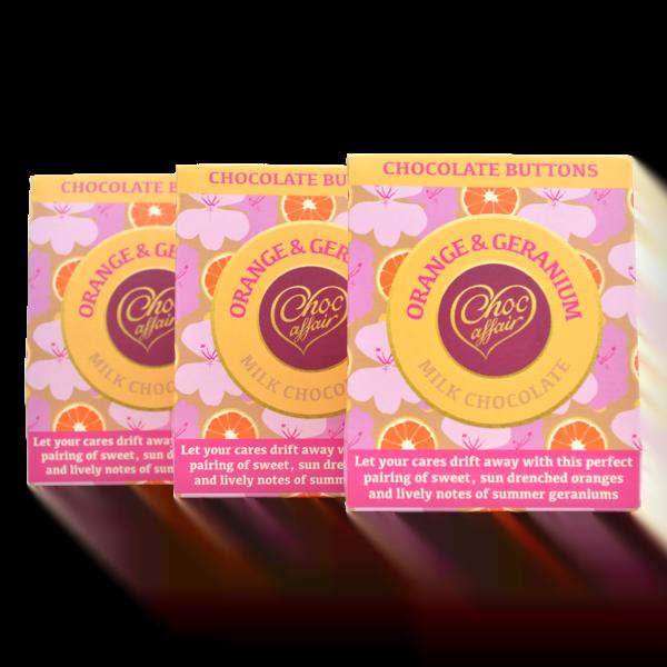 Orange and Geranium Milk Chocolate Buttons