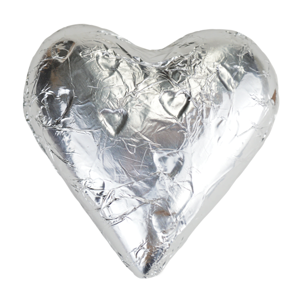 Silver Foiled Milk Chocolate Heart Wedding Favours