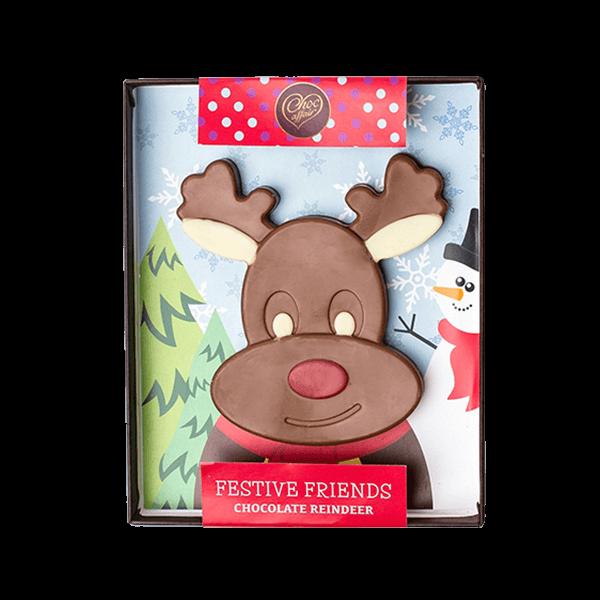 milk chocolate christmas reindeer handmade by choc affair