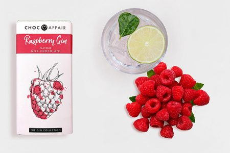 Raspberry Gin Milk chocolate bar Lifestyle image