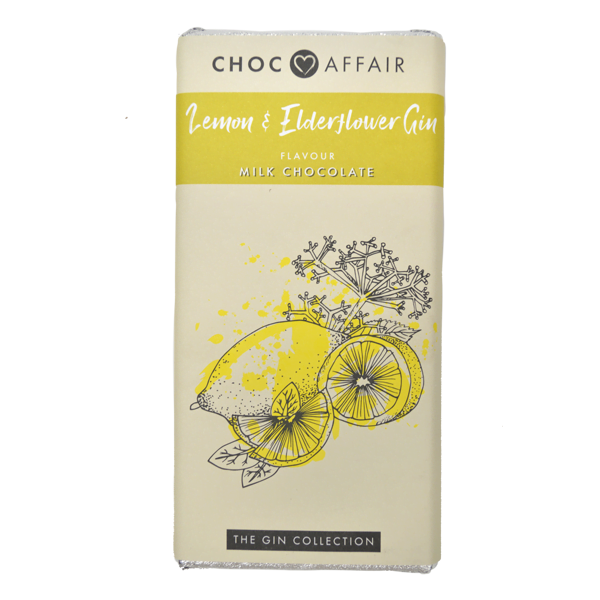 lemon & elderflower gin flavoured milk chocolate
