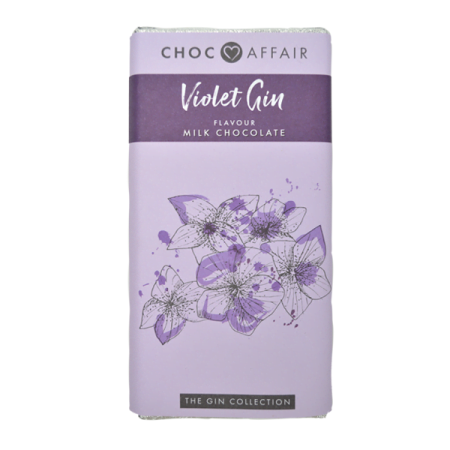 violet gin flavoured milk chocolate