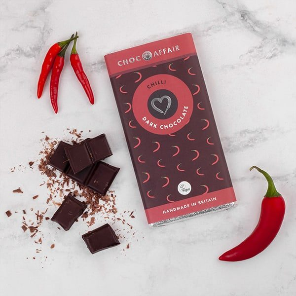 Chilli dark chocolate bar on worktop