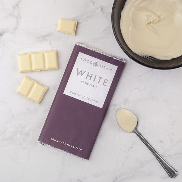 Classic white chocolate bar on worktop