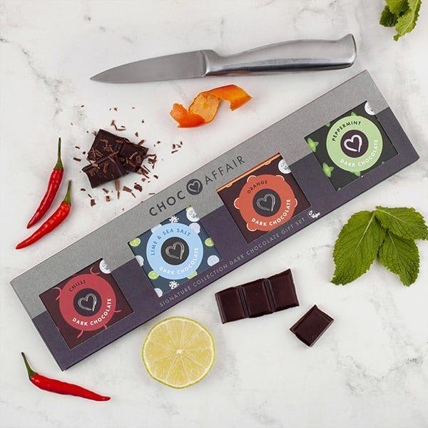 Dark chocolate minis gift set on worktop