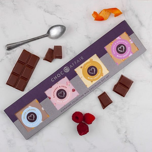 Signature collection milk chocolate minis gift set on worktop
