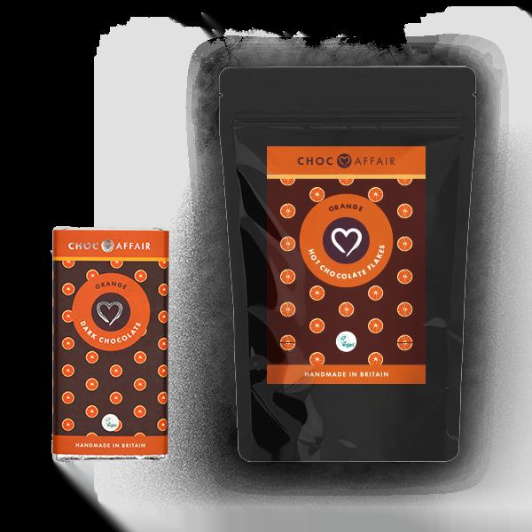 Pouch of Orange Dark Hot Chocolate Flakes & Orange Dark Choco