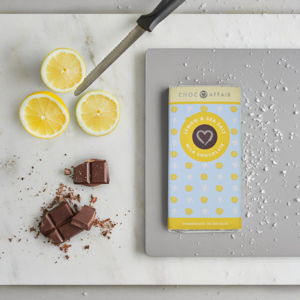 Lemon and sea salt flavoured milk chocolate bar.
