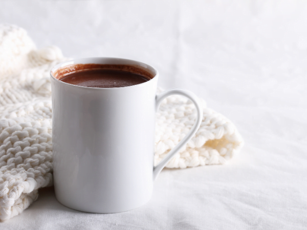 Lifestyle Hot Chocolate on pale background