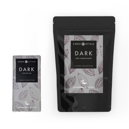 Dark Hot Chocolate Pouch and Classic Dark Chocolate Bar.