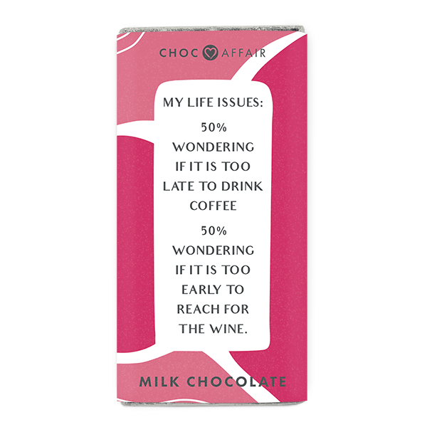 Milk chocolate message bar with funny chocolate quote