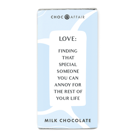 A fun milk chocolate message bar about Love.