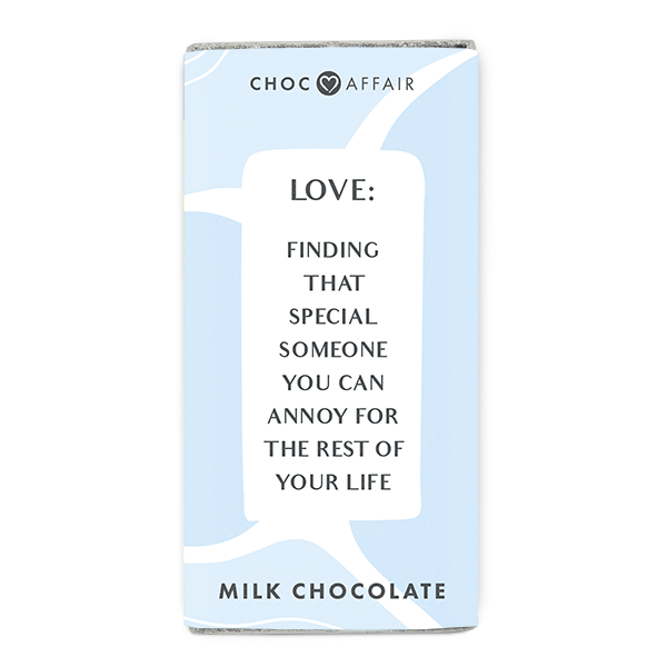 A fun milk chocolate message bar about Love.