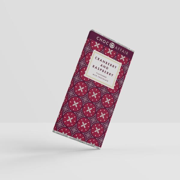 90g cranberry and raspberry milk chocolate bar